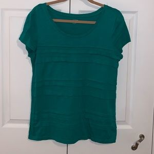 Loft Bright Green Tee with Ruffle Detail